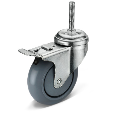 12 Series PU Screw Movable Double Brake Casters
