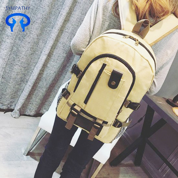 Canvas backpack travel in solid color