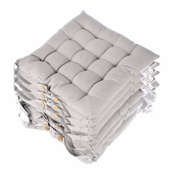 China for Bench Chair Storage Grey Seat Pads for Dining Chair, Set of 6 100% Cotton Chair Pads with Straps, 40x40 cm export to Brazil Wholesale