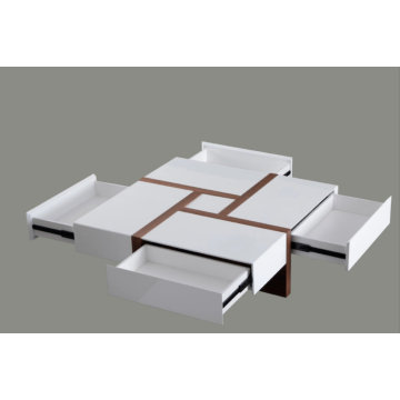 Modern White and Walnut Square Coffee Table