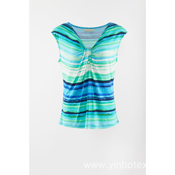 Ladies print sleeveless Tshirt