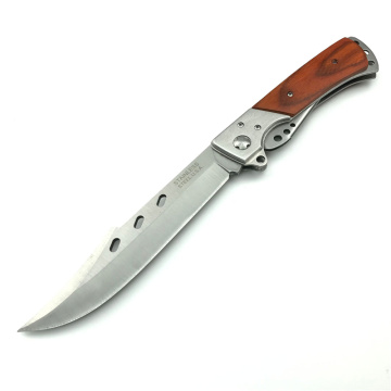 Large Stainless Steel Wooden Handle Pocket Knife