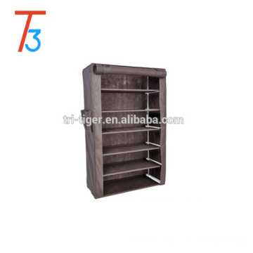 Wholesale Chinese cheap non-woven fabric shoe rack with cover 6 tier storage shelf