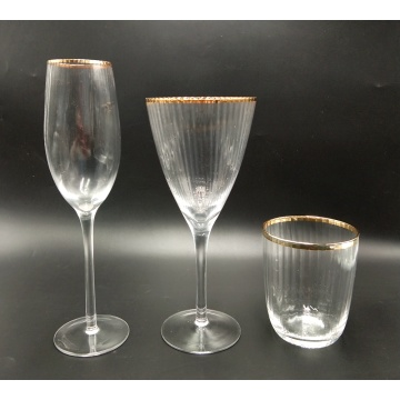 gold rim martini glass prosecco cup with ribbed
