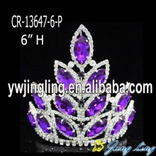 "6"" Purple Rhinestone Pageant Crown Princess Girl"