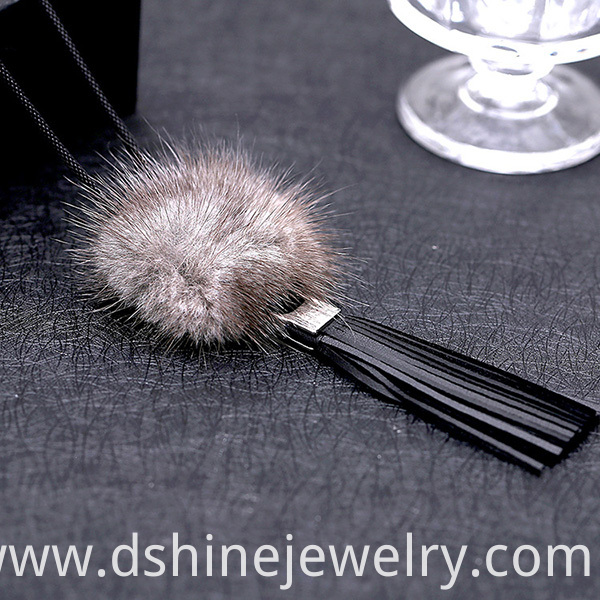 Fur Ball Long Necklace