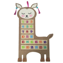 Christmas advent calendar with cute llama shape