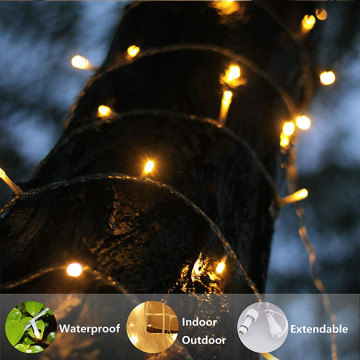 Wasserdichte LED Warm White Plug in String Lights