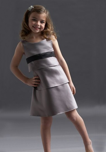 A-line Round Neck Knee-length Satin Layers Flower Girl Dress