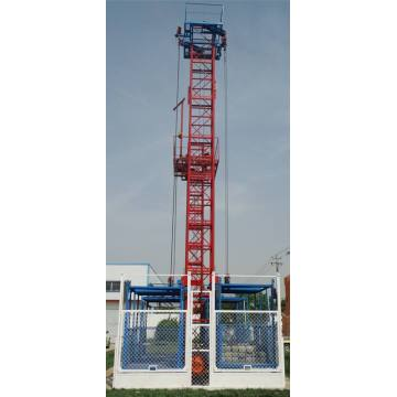 Single Double Cage Wire Rope Construction Materials Elevator