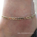 Gold Plated Metal Chain Ankle Jewelry Cutomized Designs