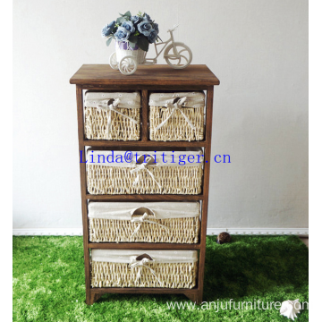 roast color solid wood storage cabinet with wickerwork basket