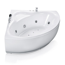 Corner Whirlpool Bathtub in White
