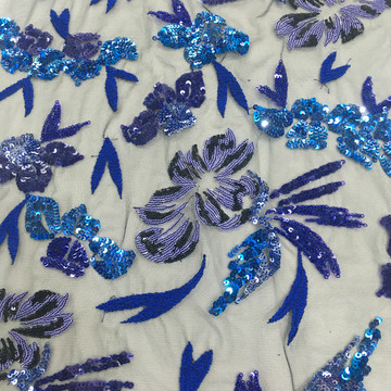2020 Summer Sky Blue Multicolor Sequin Embroidery Fabric