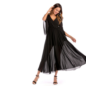 Women Sexy Deep V Neck Chiffon Evening Dress