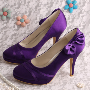 factory low price for Evening Shoes,Italian Bridal Party Shoes,Women Shoes Genuine Leather Manufacturers and Suppliers in China Bow Elegant Evening Shoes Purple Satin supply to United States Wholesale