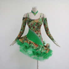 100% Original Factory for Girls Latin Dress Green latin dance costumes for competition export to Monaco Importers
