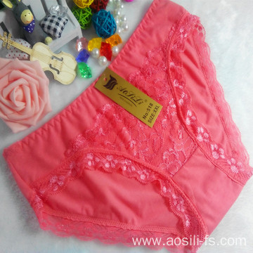 OEM wholesale China cheap watermelon red sexy comfortable lace cotton fancy underwear 518
