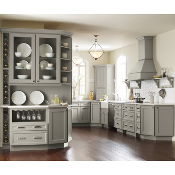 grey shaker solid wood modular kitchen cabinet