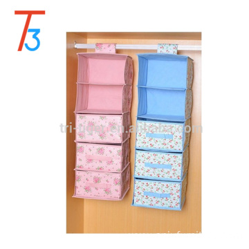 5/6 shelves non-woven hanging storage organizers