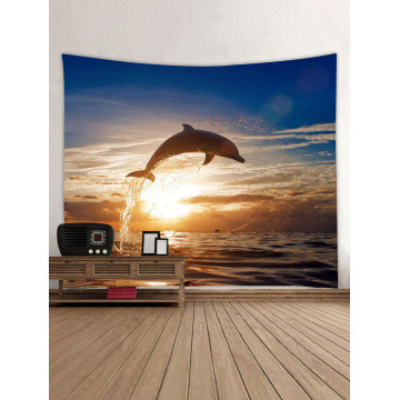 Tapestry Wall Hanging Jumping Dolphin Ocean Sea Series Tapestry Dusk Tapestry for Bedroom Home Dorm Decor