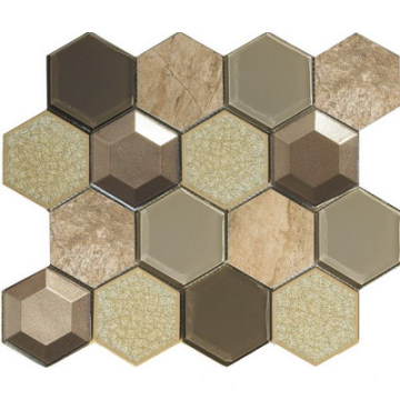 3D glass stone mix mosaic