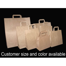 Flat Handle Brown Krafr Paper Bag