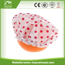 Polyester Waterproof Floral PEVA Plastic Shower Cap