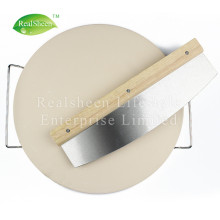 Circular Ceramic Pizza Stone And Wooden Cutter Set