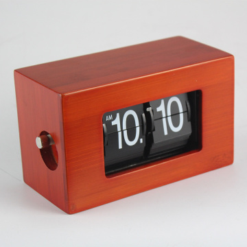 Bamboo Mini Red Flip Clock