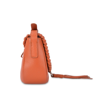 Woven Genuine Leather Tassel Mini Crossbody Fashion Bag