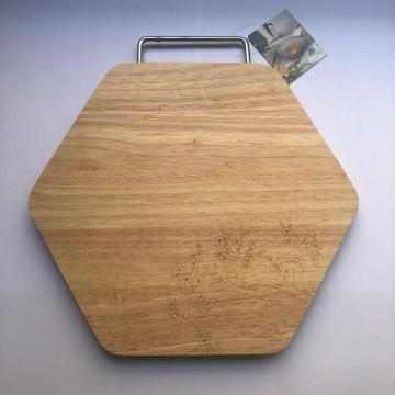 Rubber wood cutting board with portable handle