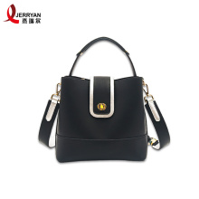 Black Bucket Tote Crossbody Bag with Zipper