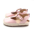 Lovely Pink Raffia Genuine Leather Baby Sandals