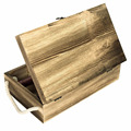 Dark Torched Wood Double Bottle Wine Case Top Handle wood wine box Brown