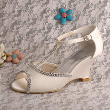T-strap White Wedges for Wedding Sandals
