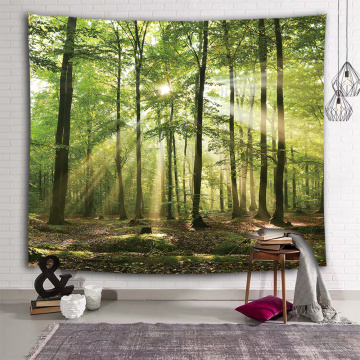 Forest Tapestry Wall Hanging Trees Trunk Nature Green Sunlight Wall Tapestry for Livingroom Bedroom Dorm Home Decor