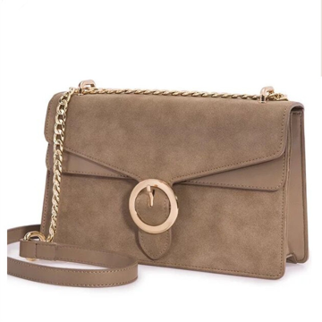 Khaki frosted leather round buckle chain shoulder bag