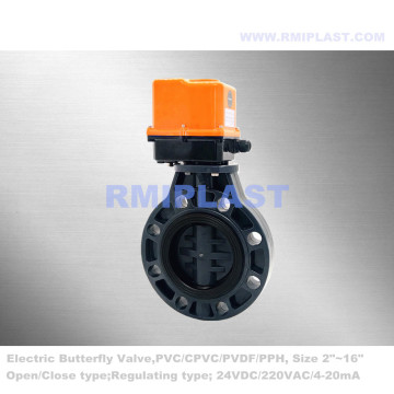 PVC Butterfly Valve Electric Actuated AC220V
