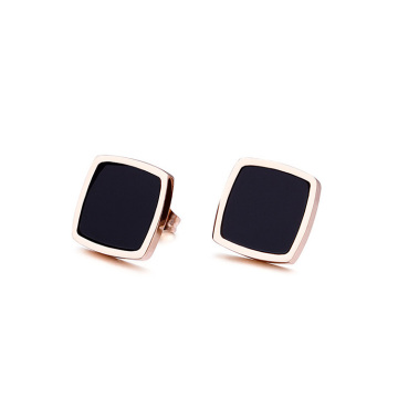 Fashion ladies black square stud earrings