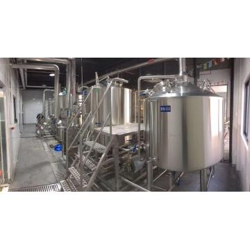 Space saving pub brewery system steam-heated brewhouse