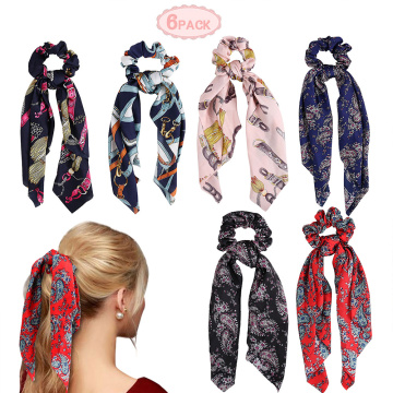 Europe style for elastic scrunchy  hair bobbles Scarf Scrunchies Bowknot Hair Band Hair Ties Rope supply to Liechtenstein Supplier