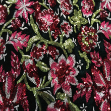 Personlized Products for Embroidered Fabric For Dresses Colorful Flower Sequin Velvet Embroidery Fabric export to Iraq Suppliers