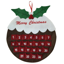 Christmas countdown advent calendar with pudding shape