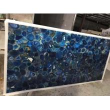 Translucent  blue agate slab