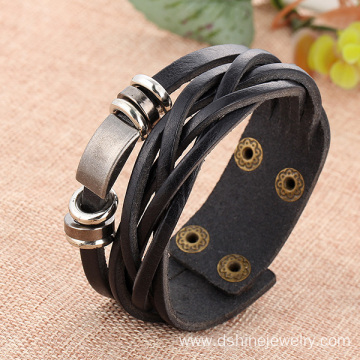 Customized for Black Leather Bracelet Handmade Leather Wrap Bracelet For Men With Metal Charms supply to Samoa Factory