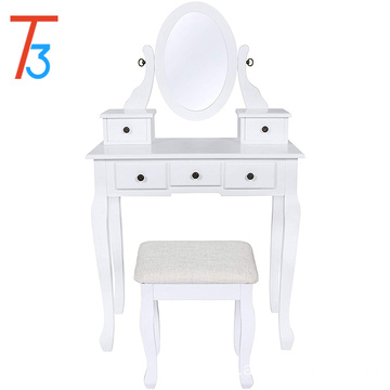 White Vanity Table and Stool Set Adjustable Oval Mirror, 5 Drawers