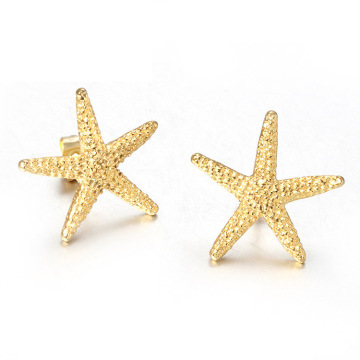 14k gold starfish stud earrings for women