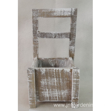 WOODEN CHAIR SHAPE PLANTER GREY AND WHITE WASHED