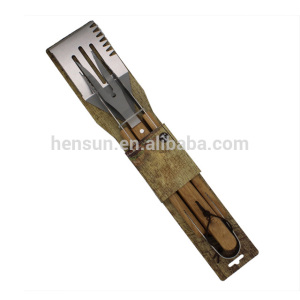 High reputation for for wooden and bamboo handle tools set Details 3pcs Wooden BBQ Grill Set with Tie-card Packing export to Italy Factories